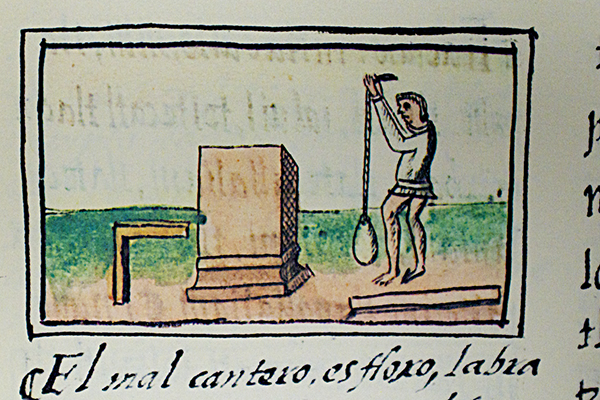 Indigenous mason using construction tools.  Florentino Codex, 16th century