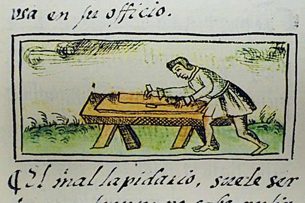 Indigenous mason using carpintery tools.  Florentino Codex, 16th century