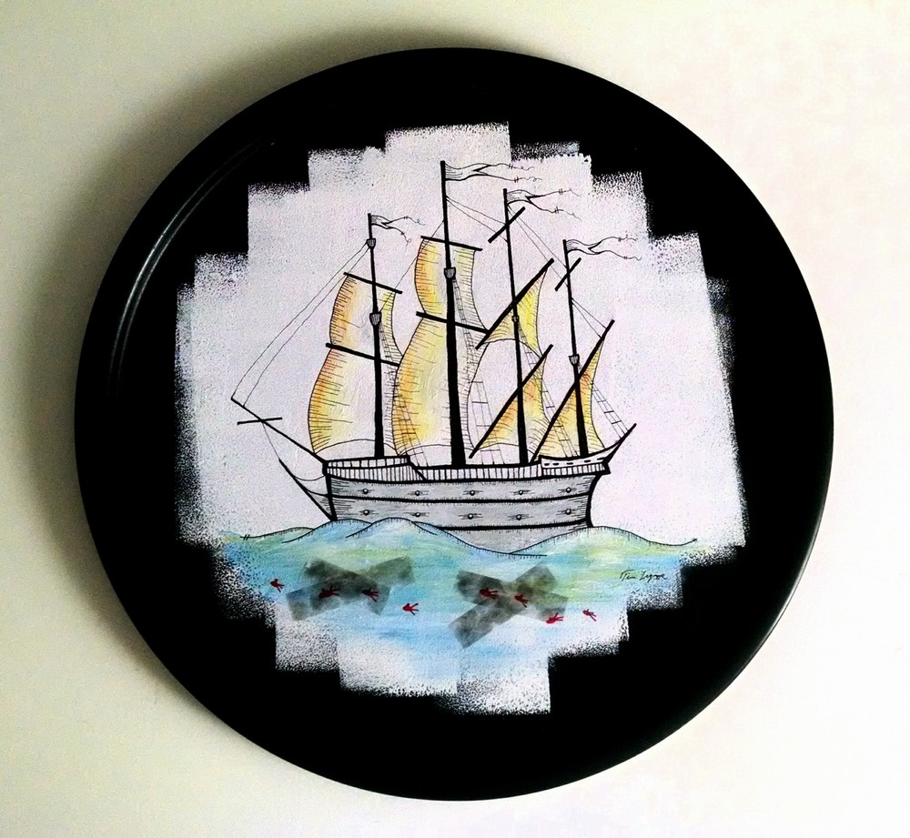 Ship  19 round Mixed Media on wood $200