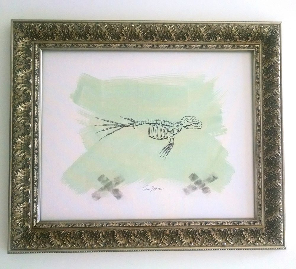 Seal Bones  21 x 25 (including frame) Mixed Media on canvas board $500