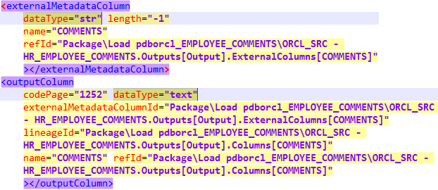 Note the two highlighted (mismatching) dataType properties.