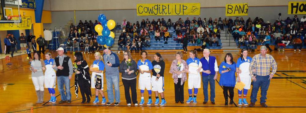 North Lamar Pantherette seniors (from left to right): Lexie Stephens, Jordan Jones, Aaryn Honeywood, Kylie Halstead and Bailey Exum.