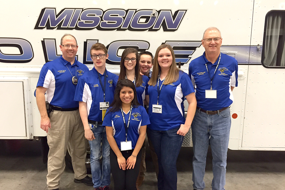 North Lamar High School Student Crime Stoppers represented Paris well at the state conference in McAllen, Texas last week.  With their sponsors, Officer Mike Boaz (left) and Billy Copeland (right), are Nely Torrez (front), Tanner Liles, Erin Boaz, Savanah Bishop, and Korbin Hamner (back).