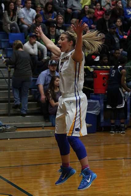 (Photo by Bill Higgins) Lexie Stephens guarding the inbound pass last week against Paris High.