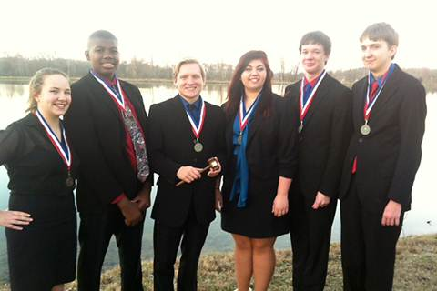 North Lamar's Cross Examination Debate Team members who contributed to the District Championship from left are Sydney Neuse, Jordan Walters, Seth Gurley, Kay Edwards, Colin Hodgkiss, and Steele Musgrove