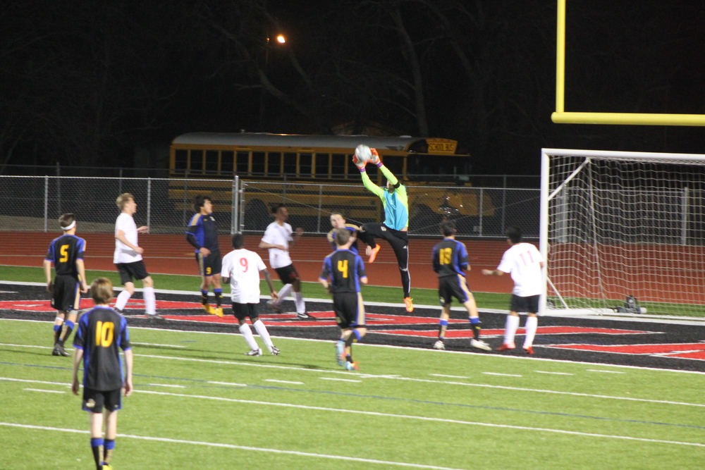 (Photo by Jared Routon) Nick West making a save for North Lamar.