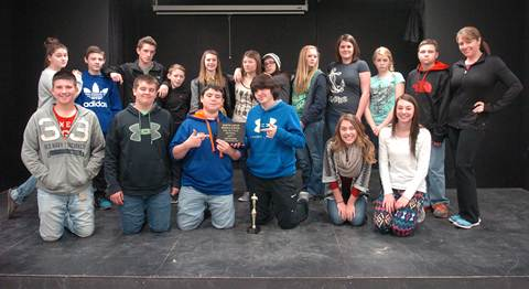 The Stone Middle School drama team proudly displays the first place UIL One Act Play trophy.  Contributing members, beginning front row left, are Payton Buck, Ryan Michael, Brody Thoms, Layne Lankford, Bryce Petkus, and McKenzie Mitchell.  In back are Haley Power (stage manager), Garrett Cook, Alec Asay, Aaron Blair, Sadi English, Teagen Holley, Kim Sherwood, Machensy Manire (sound), Karregan Allison, Josie Zumalt, Josh Fulton (stage manager), and instructor Ashley Pickering. Not pictured is Skylar Nance (lights