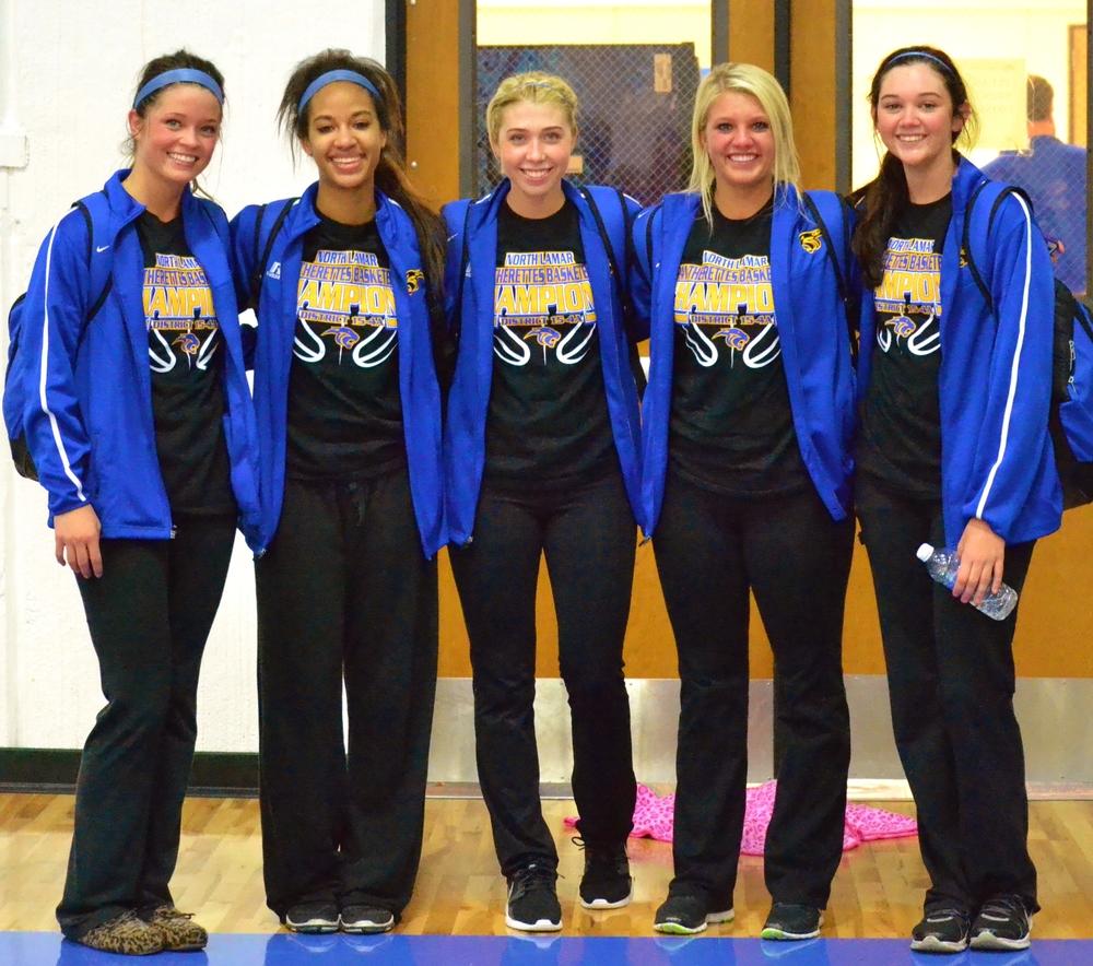 (Photo by Bev White) North Lamar seniors (Left to Right) Kylie Halstead, Aaryn Honeywood, Lexie Stephens, Jordan Jones and Bailey Exum.