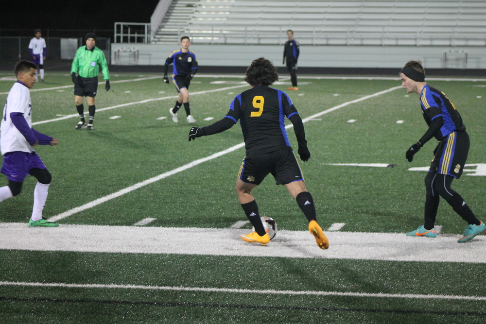 (Photo by Adam Routon) Victor Durantes (9) preparing to cross the ball.