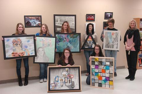 North Lamar High School art students who recently competed at the Visual Art Scholastic Event beginning front row left are Madison Staggs and Lauren Arnold, In back are Brooke Spencer, Taylor Kyle, Carly McCurry Porter, Shalen Haney, Stephen Stewart, and NLHS Art Instructor Lena Spencer.