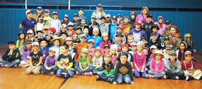 Aaron Parker Elementary students wear hats to show their support for kindergarten student Aiden Walters who has been diagnosed with a malignant brain tumor.