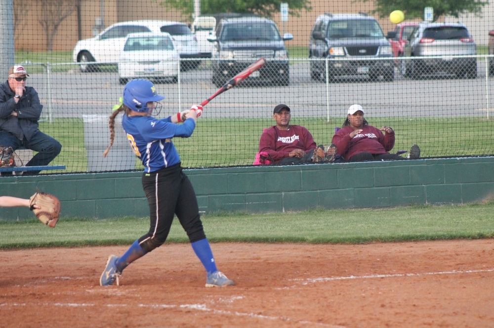 Bailee Nickerson with one of her three hits Friday night against Liberty-Eylau. Nickerson also had four RBI on the night.