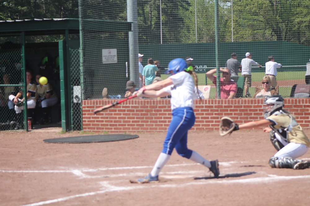 Bailee Nickerson with one of her three hits Saturday against Pleasant Grove.