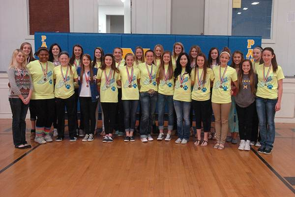 Twenty-six 7 th  and 8 th  grade girls from Stone Middle School received medals for placing in the top six places at the district track meet.  Medalists beginning front row left are   Josie Zumalt, Tori Jones, Ashlyn Reavis, Chloe Chaix, Catie Hodgkiss, Colleen Dawson, Jessee Young, Emma Stewart, Desiree Fendley, Keegan Fendley, Reyna Hildreth, Carley Pickering,   and   Haleigh Blackshear;   in back are   Catlyn Exum, Cam Williams, McKenzie Mitchell, Randa Stevens, Allison Bright, Kerissa Gilliam, Lexi Brown, Sophia Johnson, Kenley Coston, Tatum Rekieta, Bryce Petkus,  and   Mallory Blake.