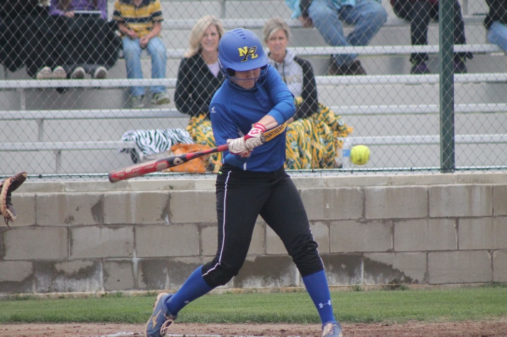 Bailee Nickerson with one of her two hits against Pleasant Grove.