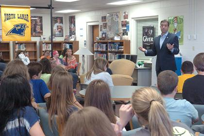 Congressman John Ratcliffe graciously answered questions that were on the tongues of curious eighth grade history students from Stone Middle School.