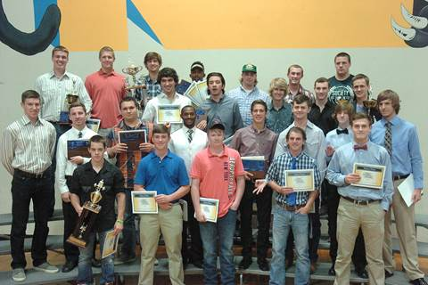 Panther award winners beginning front row left are Josh Bolton, Levi Graham, Nick Campbell, Brayden Steed, and Klayton Drake.  Second row, Grant Erickson, Kyle Terry, Brandon Halliday, Keitron Reed, Cameron Edwards, Jake Wynn, Andrew Exum, and Nick West.  Third row, Joe Edzards, Aaron Ables, Jessup Crutchfield, Kyle Dunmon, and Levi Porter.  Back row, Ty Jones, Hunter Sartor, Tyler Anthony, Samaki Walker, Jake White, Micah Booker, and Ryder Bryant.