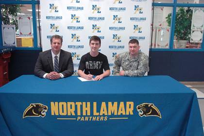 Craig Hale, center, with NLHS Principal Clint Hildreth and Army Recruiter Nicholas Royse.