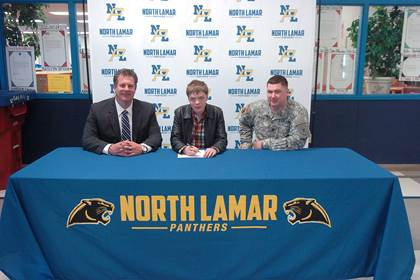 Joseph Daniels, center, with NLHS Principal Clint Hildreth and Army Recruiter Nicholas Royse.
