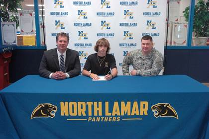Jacob Mills, center, with NLHS Principal Clint Hildreth and Army Recruiter Nicholas Royse