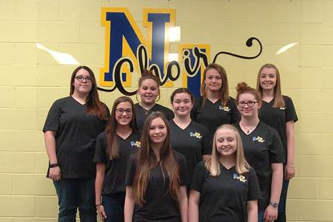 North Lamar High School All Region Treble Choir beginning front row left are Bayleigh Jordan and Reagan Booker.  In the second row are Kylee Hilliard, Autumn Flick and Ayana Cox, and in back are Kelcey Fitzgerald, Cheyanne Jones, Jacie Sparks and Alex Jenkins.  Not pictured is Bailey Fowler.