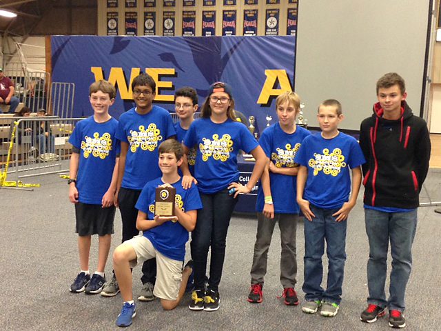 Stone Middle School's Robotic Team members are Wesley Crites, kneeling, from left Teddy Fischer, Jaden Franklin, Donato Curvino, Elena Covington, Caleb Young, Colton Hale and Rustin Shelton.