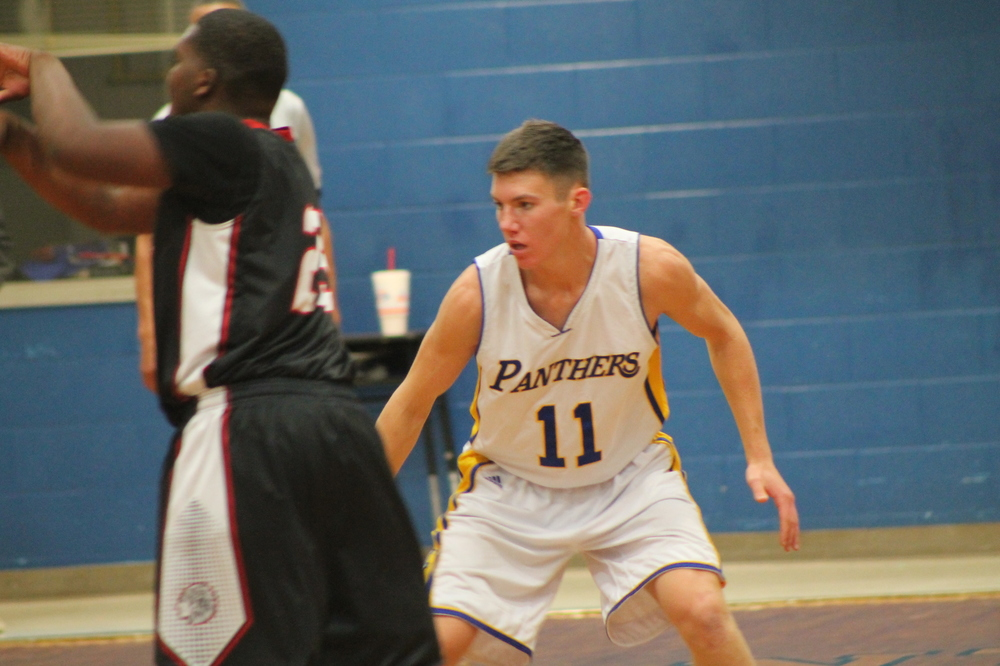 Grant Erickson playing defense earlier in the season for North Lamar