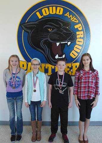 Stone Middle School Regional Science Fair Winners from left are Emma Fowler, Emeri Watson, Clayton Beard and Laney Young.