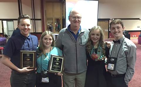 North Lamar Student Crime Stoppers proudly display awards won at the state conference.  From left are Korbin Hamner, Sarah Gentry, Sponsor Billy Copeland, Melody Shannon and Tanner Liles.