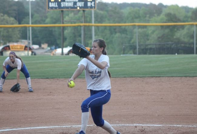 Reagan Richardson pitching last year during a playoff game for North Lamar