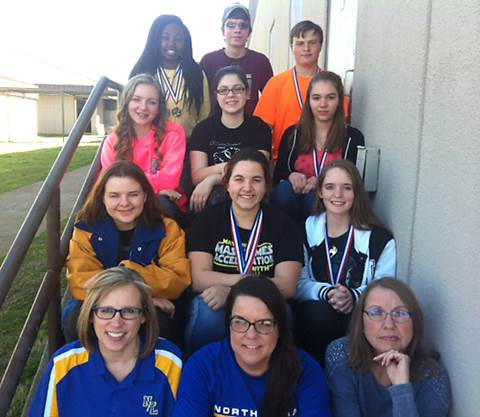 North Lamar High School competitors and coaches participated in Sulphur Springs' UIL Academic Meet over the weekend.  Coaches beginning first row, left, are Math Coach Carolyn Hiller, Science Coach Teresa Bussell and Literary Criticism Coach Linda Winfrey.  NLHS UIL team members in the second row are Junior Jess Chollet, Sophomore Heather Armstrong and Junior Brittany Pilkington; third row, Sophomore Melody Shannon, Junior Taylor White and Sophomore Kyra Conlin; and fourth row, Junior Rael Memnon, Sophomore Jacob Hawthorne and Junior Rex Tuttle.