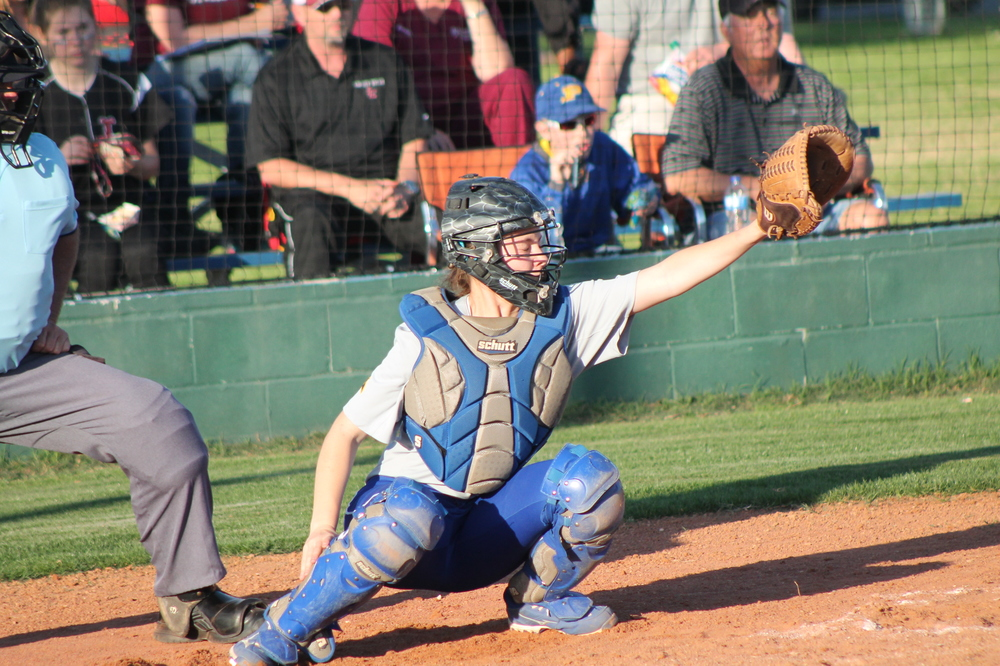 Bailee Nickerson catching during a game earlier in the season.
