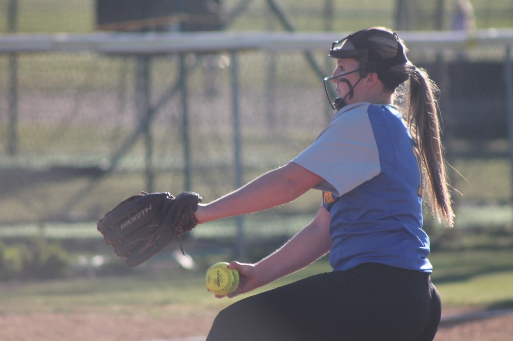 Brooke Collard pitching against Paris earlier in the season.