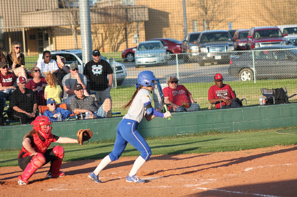 Reagan Richardson getting read to lay down a bunt earlier in the season for North Lamar.