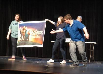 Revealing NLHS's fall play,  Shrek  , from left are seniors Sarah Serrano, Brittany Birch, Adrian Hobbs and Nic Corpus (in back).