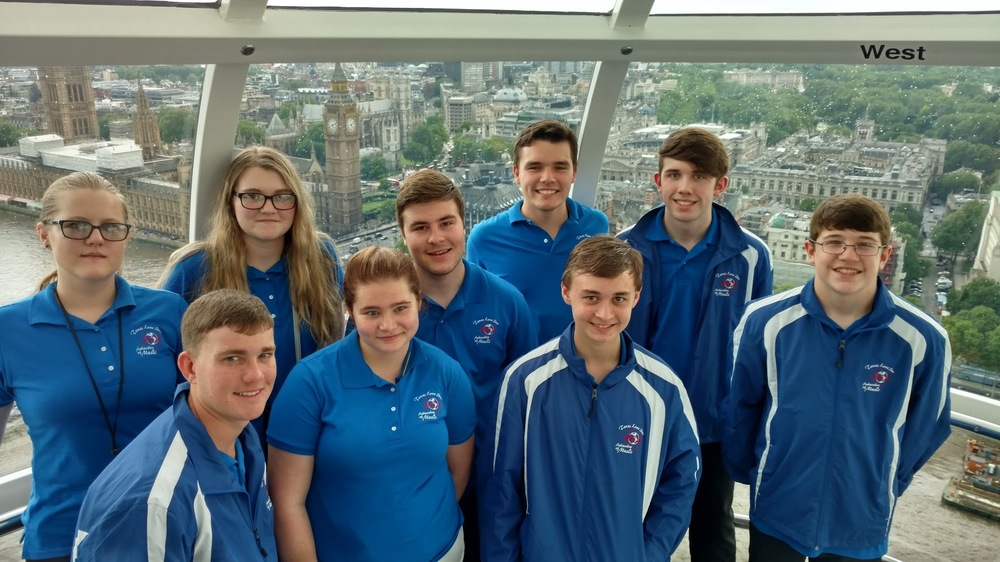 North Lamar and Paris band students gather on the London Eye overlooking Parliament while on their trip to Europe. Those who represented Lamar County beginning front row left are Levi Graham, Michalla Barr, Alex Draper and Hudson Jones. In back are Emily Foster, Emily Brownfield, Eric Shelton, Thomas Zimmerman and Seth Jones.
