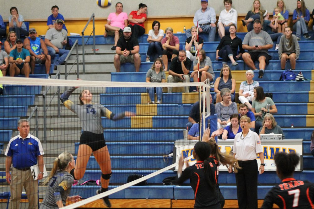 Bailey Foy going up for one of her nine kills in the game.