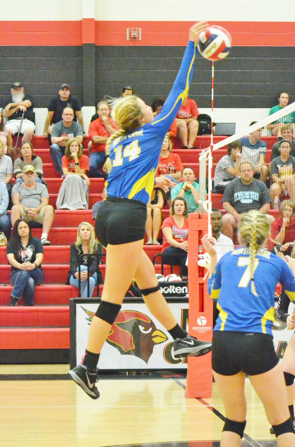 Photo by Beverly White. Bailey Foy (14) spiking the ball in a game earlier this season.