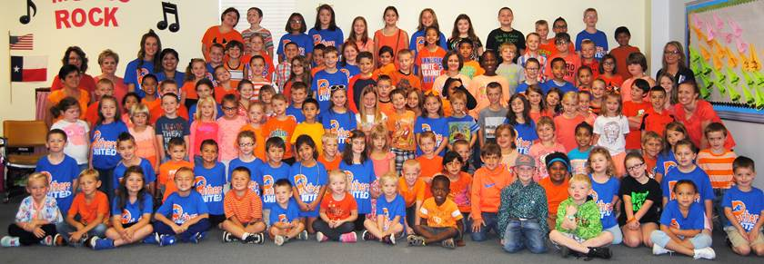 Students and staff wearing orange at Aaron Parker Elementary came together to see the impact they made on their campus by uniting together and making a stand against bullying.