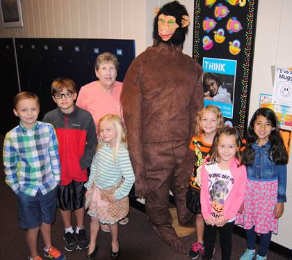 Standing next to their life-size model of Bigfoot are Aaron Parker's second and third grade GT students.  From left are Wiley Quillen, Chance Mitchell, Ellie Schmidt, GT teacher Drethia Parson, Bigfoot, Alyssa Ottmo, Remie Moore, Khadija Joudeh.