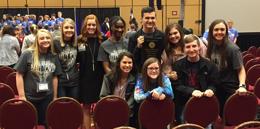 Attending the Beta State Convention from North Lamar High School beginning front row left are Emily Lamonica, Kaitlyn Dority, and Trenton Wheeler.  In back are Raegan Booker, Alex Jenkins, Bailey Fowler, Takeyah Griffin, Tristian Wheeler, Maddie Doyal, and Kylee Scudder.  Not pictured is Rael Mennon