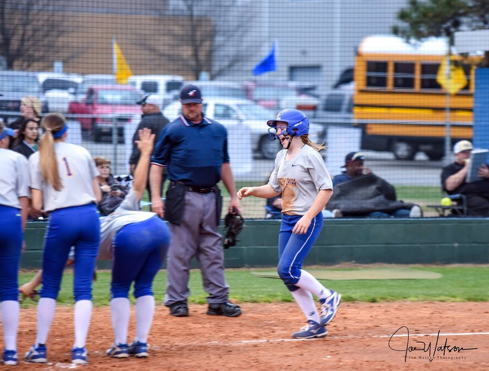 (Photo by Joe Watson) Ashlyn Reavis headed home after a three-run homer against Pleasant Grove.