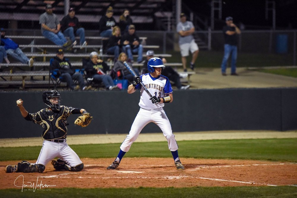 (Photo by Joe Watson) Zeke Woods taking a bat against Pittsburg earlier in the season. Woods finished with four hits and five RBI's against LE on Friday. He also got the win on the mound.