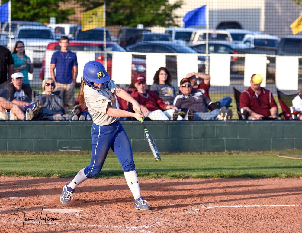 (Photo by Joe Watson) Freshman Ashlyn Reavis with a grand slam in the fourth inning against Atlanta.