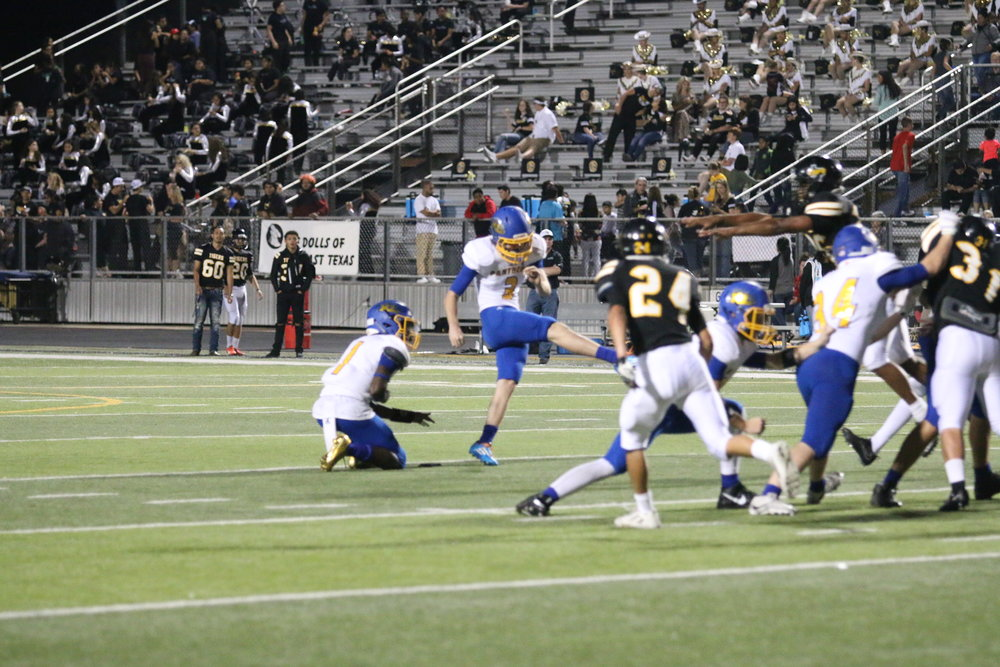 (Photo by Lynn English) Travis Coston kicking a 40 yard field goal for the Panthers Friday night.