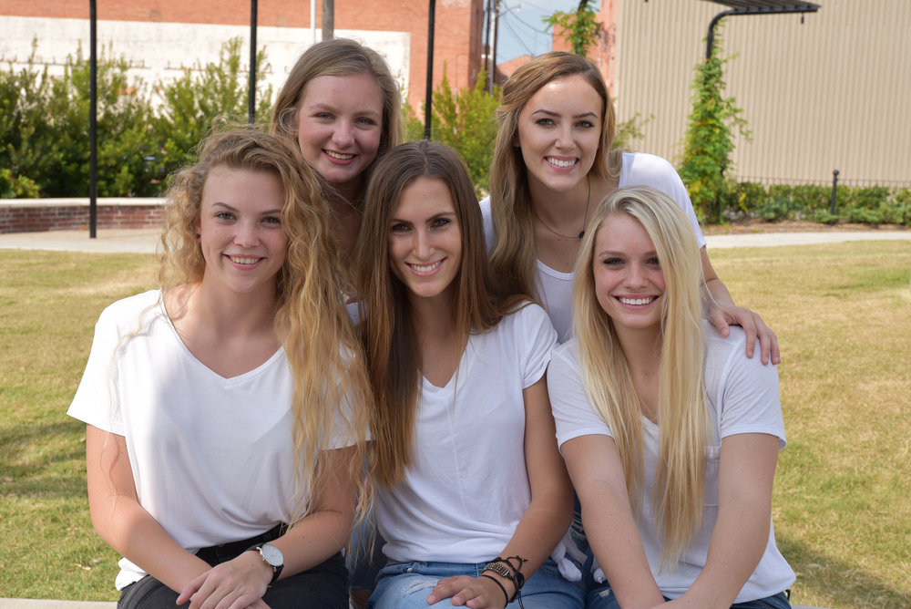 North Lamar Homecoming Queen nominees beginning front row left are Ashton Henderson, Summer Andrews and Karlie King. In back are Melody Shannon and Mikaela Hess