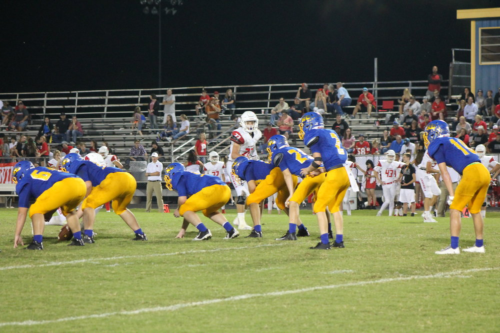 (Photo by Lynn English) North Lamar offense lining up against Pottsboro Friday night.
