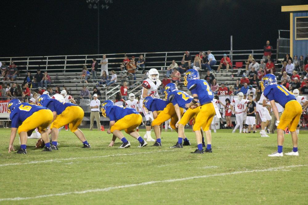 (Photo by Lynn English) North Lamar offense lining up against Pottsboro Friday night.