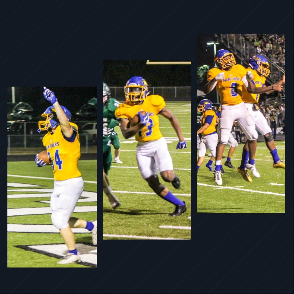 Hunter Moore celebrates a TD, Seybian Holt running after the catch, Tyler Hill celebrating TD #2 ---photos by Lynn English