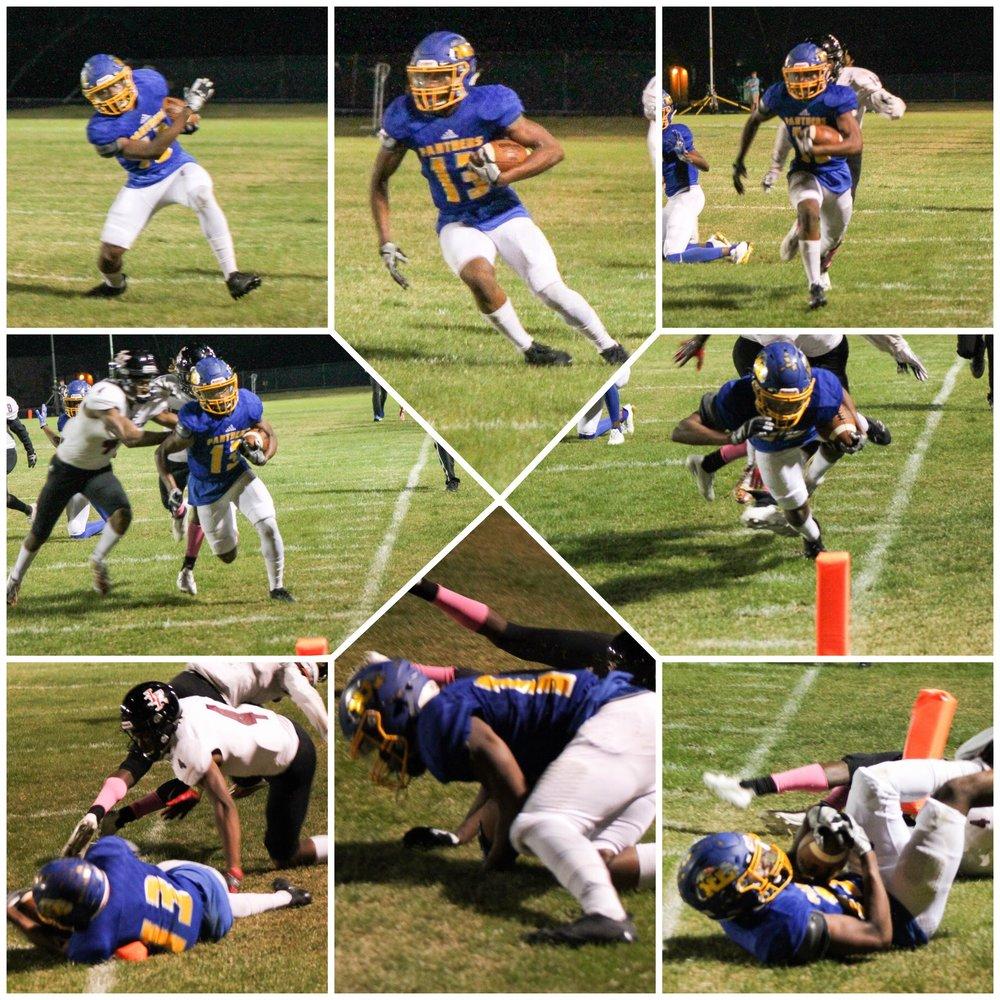 (Photos by Lynn English) Sequence of Seybian Holt's dramatic 37 yard TD